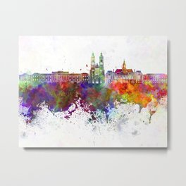 Tours skyline in watercolor background Metal Print