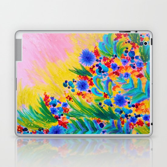 NATURAL ROMANCE in PINK - October Floral Garden Sweet Feminine Colorful Rainbow Flowers Painting Laptop & iPad Skin