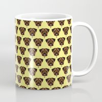 polkadot Mugs featuring Terrier Polkadot by Luke Clark