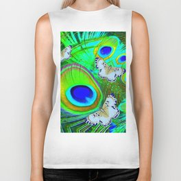 GREEN PEACOCK FEATHERS  & WHITE BUTTERFLIES FANTASY ART Biker Tank