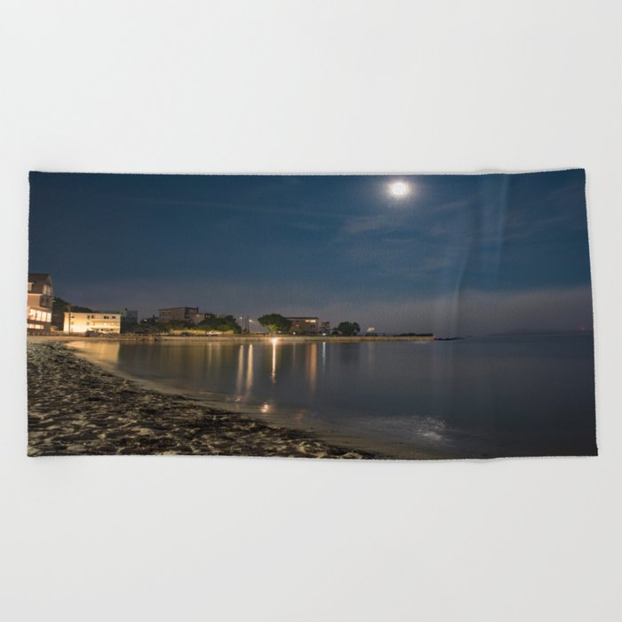 Foggy Moonlit Beach Beach Towel