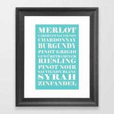 Wine Celebration - Mint Blue Framed Art Print