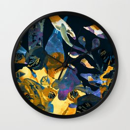 blue abstract floral Wall Clock