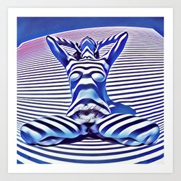 9665s-KMA_5201 Powerful Blue Woman Open Free Striped Sensual Sexy Abstract Nude Art Print
