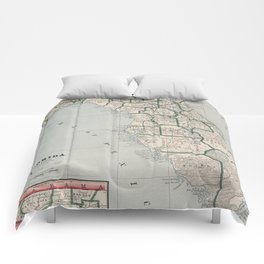 Vintage Map of Florida (1883) Comforters