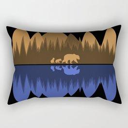 Bear & Cubs Black Rectangular Pillow