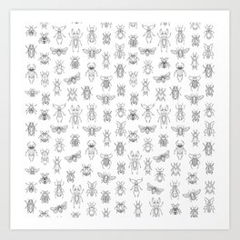 Insects pattern (White) Art Print
