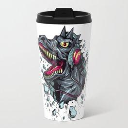 Dino with Headphones Grey Ebony Clay Travel Mug