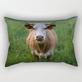 COW - FIELD - GREEN - VALLEY - NATURE - PHOTOGRAPHY - LANDSCAPE Rectangular Pillow