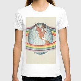 Psycho-harmonial philosophy - Peter Pearson - 1910  Rainbow Saturn Rings Around Earth T-shirt