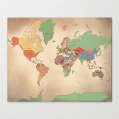 Mercator Map Modern Canvas Print
