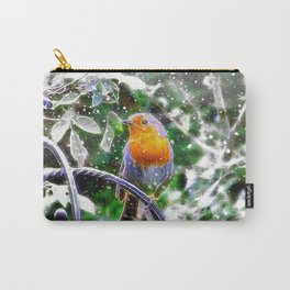 Snowy Fractal Robin Carry-All Pouch