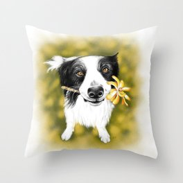 Cute Border Collie Throw Pillow