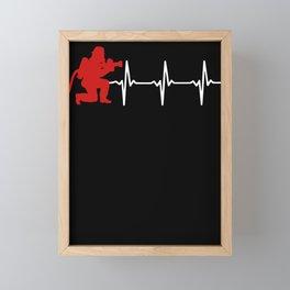 Firefighters heartbeat fire emergency Framed Mini Art Print