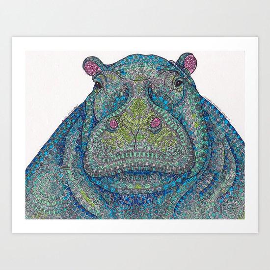Hippie-Potamus (Blue) Art Print