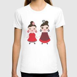 Spanish Woman flamenco dancer. Kawaii cute face with pink cheeks and winking eyes. Gipsy girl T-shirt