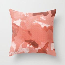 Pantone Living Coral Splatters Watercolor Camo Patchy Digital Art Throw Pillow