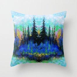 Blue Spruce Island Abstract Art Throw Pillow