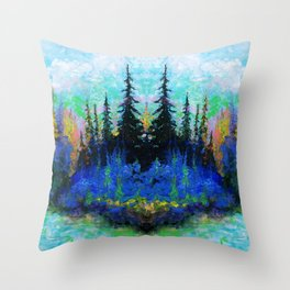 Blue Spruce Island Abstract Art Throw Pillow