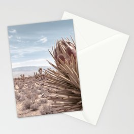 Cactus Wildflower // Desert Landscape Joshua Tree Dusty Blue Sky Stationery Cards