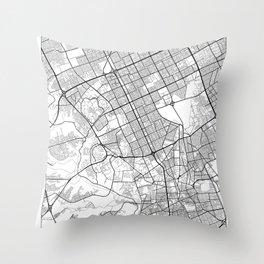 Riyadh Map White Throw Pillow