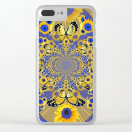 MODERN BLUE FLORALS MONARCH BUTTERFLY ART Clear iPhone Case