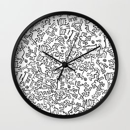 Figures Keith Haring White Wall Clock