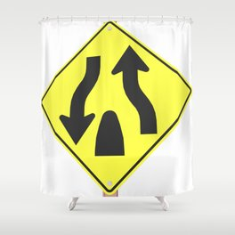 """Divided highway"" - 3d illustration of yellow roadsign isolated on white background Shower Curtain"