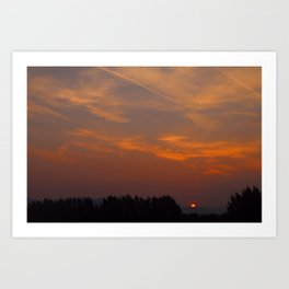 Red Rising Sun Art Print