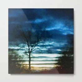 Evening sky turned watercolor painting Metal Print
