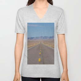 Open Road Photography, Loneliest Highway in America Photo, Nevada Road, Travel Photography Unisex V-Neck