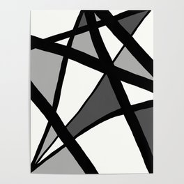 Geometric Line Abstract - Black Gray White Poster