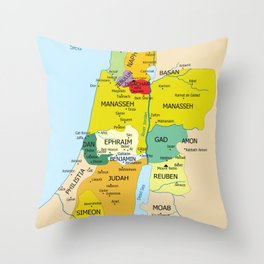 Map of Twelve Tribes of Israel from 1200 to 1050 According to Book of Joshua Throw Pillow