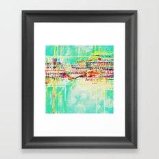 futuristic world in turquoise Framed Art Print