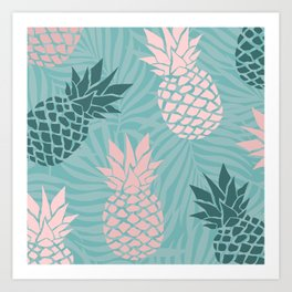 Tropical Pineapple and Palm Leaf Pattern, Teal and Pink Art Print