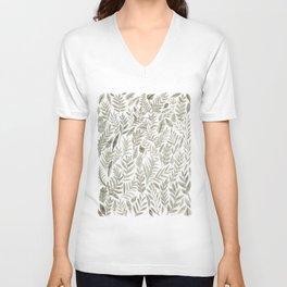 Grey Botanical Unisex V-Neck