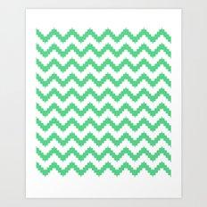 funky chevron mint pattern Art Print
