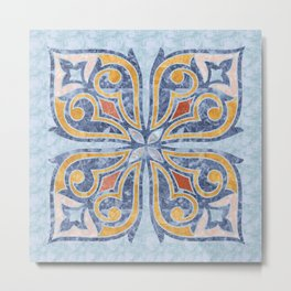 Blue Oriental Tile 04 Metal Print