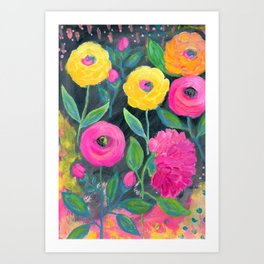 Yellow and Pink Flowers with Dark Background, Floral Painting, Flowers at Midnight Art Print