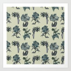 Botanical Florals | Vintage Dark Blue Art Print