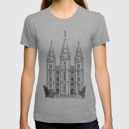 Salt Lake LDS Temple Ink Drawing T-shirt