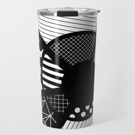 Twisted Web - Black And White, Patterned, Abstract Art Travel Mug
