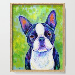 Colorful Boston Terrier Dog Serving Tray