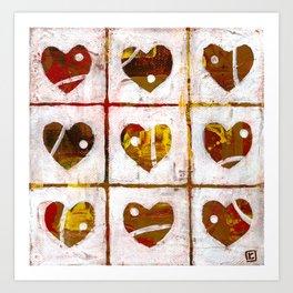 Nine hearts Art Print