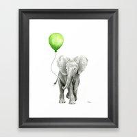 Baby Elephant Watercolor Green Balloon Neutral Color Nursery Decor Framed Art Print