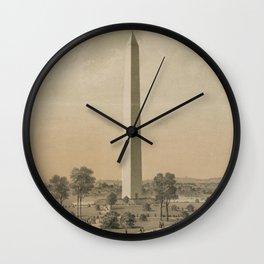 Vintage Washington Monument Illustration (1886) Wall Clock