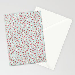 English Rose Pattern on Blue Stationery Cards