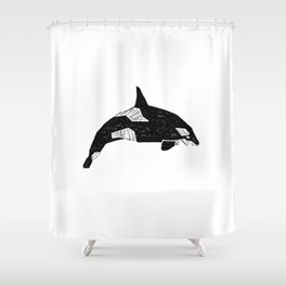 Killer Whale minimal linocut basic orca sealife ocean animals art black and white Shower Curtain