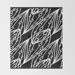 White molecular helix with diagonal circles on a black background. Throw Blanket
