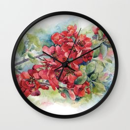 Watercolor Apple quince bloom Wall Clock